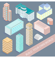 Set of Urban Architectural Buildings in Isometric vector image