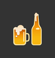 a glass and a bottle beer vector image