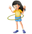 A young girl playing with a hulahoop vector image vector image