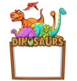banner template with lots of dinosaurs vector image vector image