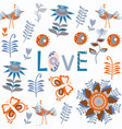 bird romantic seamless pattern it is located in vector image vector image