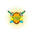 Business guard icon comics style vector image