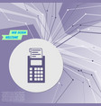 calculator icon on purple abstract modern vector image vector image