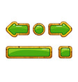 cartoon gold old green buttons for game or web vector image vector image