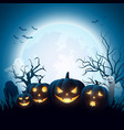 cartoon halloween pumpkins with white ghost vector image