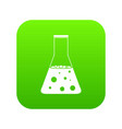 chemical flask icon digital green vector image vector image