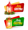 christmas festive banners with vintage lantern set vector image vector image