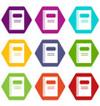 closed spiral notebook icon set color hexahedron vector image vector image