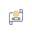 cogwheel blueprint line icon engineering tool vector image