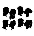 couple heads in profile man and woman vector image