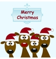 deers with red santa hat vector image