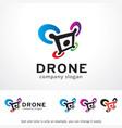 drone logo template design vector image