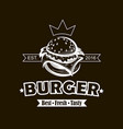 emblem with burger vector image