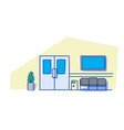 empty hospital clinic hall with seats and doors vector image