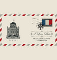 envelope with notre dame de paris vector image vector image