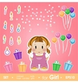 Festive set for girl Set for birthday candles vector image vector image