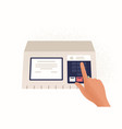finger pressing button on electronic voting vector image