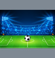 football stadium with a ball soccer field in the vector image vector image