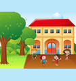 four kids hulahoop and jump rope at school vector image vector image