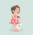 girl eat ice cream cone with dog vector image vector image