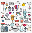 hand drawn doodle lovely set for kid vector image