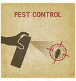 hand with spray extermination of cockroaches vector image vector image