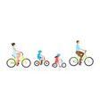 happy family riding bicycle together vector image
