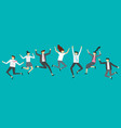 happy jumping business people excited office team vector image