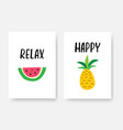 happy summer poster a4 set with hand drawn vector image vector image