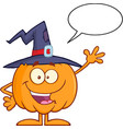 happy witch pumpkin with speech bubble vector image vector image