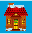 house with a facade decorated for christmas vector image vector image