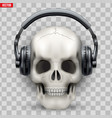 human skull with headphones vector image