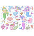 mermaid sea world little mermaids cute mythical vector image