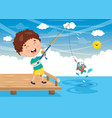 of kid fishing vector image