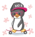 Penguin with skateboard vector image vector image