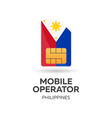 philippines mobile operator sim card with flag vector image vector image