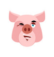 pig winking emoji piggy merry emotion on white vector image vector image