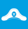 pirate hat icon white vector image vector image
