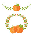 pumpkin and leaves pumpkin and leaves vector image vector image