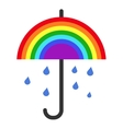 rainbow umbrella and falling rain vector image