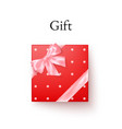 red gift box with pink silk bow in realistic vector image vector image