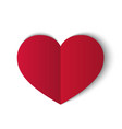 red paper heart isolated on white background vector image