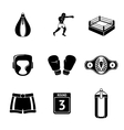 Set of boxing icons - gloves shorts helmet vector image
