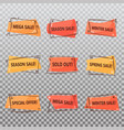 set of isolated tags for clearance sale vector image vector image