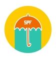 Summer vacation beach Round Card Design Umbrella vector image