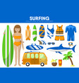 surfing sport equipment surfer surfboard garment vector image vector image