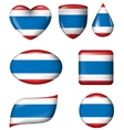 Thailand Flag in various shape glossy button vector image