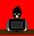 thief hacking a computer icon cyber attack vector image