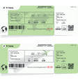 two variants of airline boarding pass tickets vector image vector image