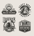 vintage brewery monochrome labels vector image vector image